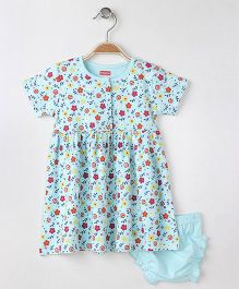 Babyhug Short Sleeves Frock With Bloomer Floral Print - Aqua Blue