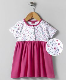Babyhug Cotton Half Sleeves Frock Floral Print - Dark Pink White
