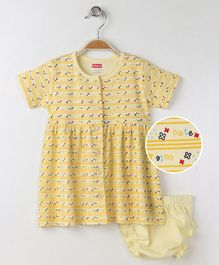Babyhug Short Sleeves Frock With Bloomer Cute Print - Yellow