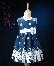 Enfance Core Bow & Polka Print Casual Dress - Blue