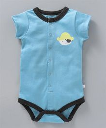 Babyoye Short Sleeves Knitted Onesie Pirate Print - Sky Blue