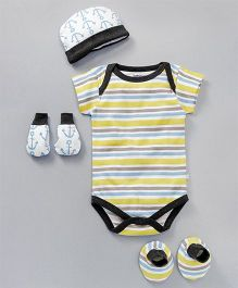 Babyoye Short Sleeves Striped Onesie With Cap Gloves & Mittens Anchor Print - Yellow Black