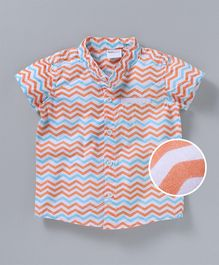 Babyoye Mandarin Collar Neck Shirt Chevron Print - Blue Orange