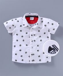 Babyoye Short Sleeves Woven Shirt Boat Print - White