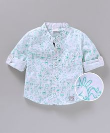 Babyoye Mandarin Collar Neck Shirt Monster Print - White