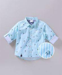Babyoye Full Sleeves Shirt Stripes & Palm Tree Print - Light Blue