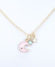 Asthetika Crescent Moon Pendant Necklace - Light Pink