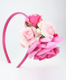 Asthetika Monochrome Rose Floral Hair Band - Pink