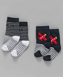 Cute Walk by Babyhug Ankle Length Antibacterial Socks Airplane Design - Black Grey