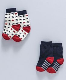 Cute walk by Babyhug Antibacterial Socks Pack of 2 - Blue & Red