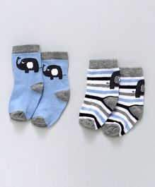 Cute Walk by Babyhug Anti Bacterial Ankle Length Socks Stripes & Elephant Design Pack of 2 - Blue White