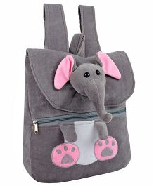 Frantic Velvet Nursery Bag Elephant Face Design Grey - 14 inches