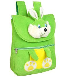 Frantic Velvet Nursery Bag Bunny Face Design Green - 14 inches