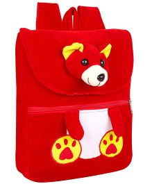 Frantic Velvet Nursery Bag Teddy Face Design Red - 14 inches