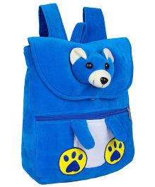 Frantic Velvet Nursery Bag Teddy Face Design Blue - 14 inches
