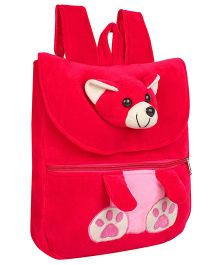Frantic Velvet Nursery Bag Teddy Face Design Pink - 14 inches