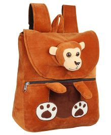 Frantic Velvet Nursery Bag Monkey Design Brown - 14 inches