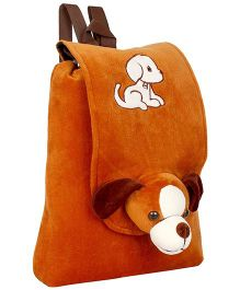 Frantic Full Flap Velvet Nursery Bag Puppy Applique Brown - 14 inches