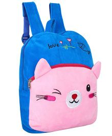 Frantic Velvet Nursery Bag Kitty Design Blue Pink - 14 inches