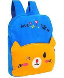 Frantic Velvet Nursery Bag Kitty Design Blue Yellow - 14 inches