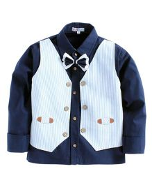KIDS CLAN Shirt With Attached Striped Waistcoat - Navy Blue