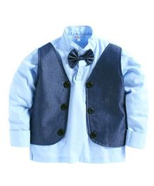 KIDS CLAN Shirt With Bow And Attached Waist Coat- Sky Blue