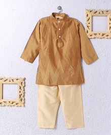 KIDS CLAN Kurta Pajama Set - Golden