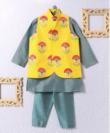 KIDS CLAN Floral Jacket With Pajama - Yellow & Grey