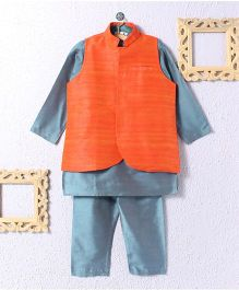 KIDS CLAN Kurta Pajama And Jacket Set - Orange & Grey