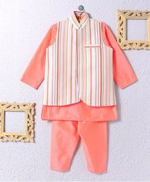 KIDS CLAN Jacket With Kurta And Pajama - Peach