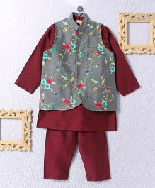 KIDS CLAN Kurta Pajama With Floral Work Jacket - Maroon