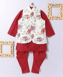 KIDS CLAN Kurta Pajama Set With Floral Work Jacket - Maroon