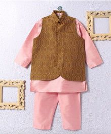 KIDS CLAN Kurta Pajama And Jacket Set - Pink And Brown