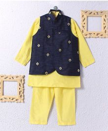 KIDS CLAN Kurta Pajama And Jacket Set - Yellow