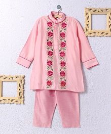 KIDS CLAN Kurta Pajama With Floral Border - Pink