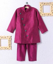 KIDS CLAN Coat Style Kurta Pajama Set - Pink