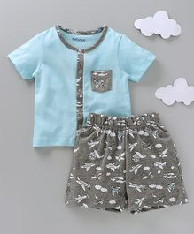 Babyoye Half Sleeves Night Suit  Aeroplane Print - Blue