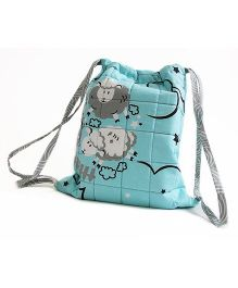 Silverlinen Quilted Cotton Drawstring Printed Bag -  Blue
