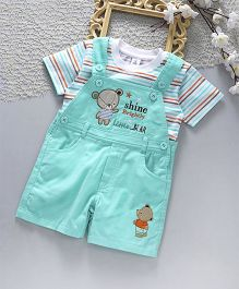 ToffyHouse Corduroy Dungaree With Stripe T-Shirt Bear Patch - Sea Green White
