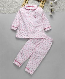 ToffyHouse Full Sleeves Night Suit Elephant Print - Light Pink