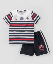 Teddy Half Sleeves Stripe T-Shirt And Shorts Ship Print - White Navy Blue