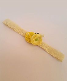 Soulfulsaai Stretch Headband With 2 Different Flowers - Yellow