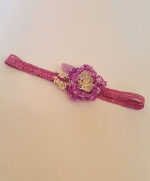 Soulfulsaai Stretch Headband With Flower & Pearl - Purple