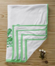 Tinycare Towel Teddy Print - White Green