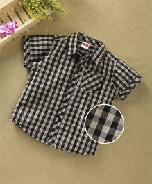 Babyhug Half Sleeves Checkered Shirt With Pocket - Black