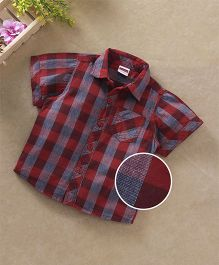 Babyhug Half Sleeves Checkered Shirt With Pocket - Red Blue