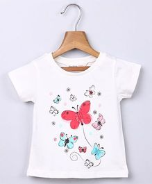 Beebay Butterfly Print T-shirt  - White