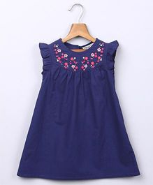 Beebay Floral Embroidered Yoke A-Line Dress  - Navy