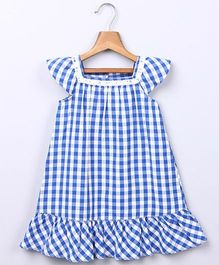 Beebay Gingham Dress with Lace Insert  - Blue