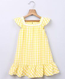 Beebay Gingham Dress with Lace Insert - Yellow